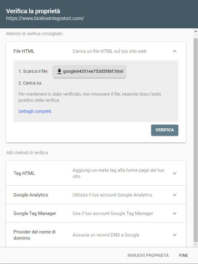 Google Search Console - proprietà